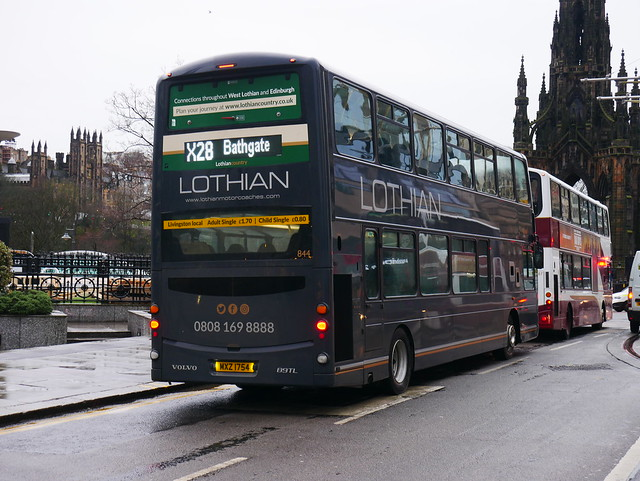 Lothian Country Buses Volvo B9TL Wright Eclipse Gemini MXZ1754 844 operating service X28 to Bathgate at Princes Street, Edinburgh, on 7 January 2020.