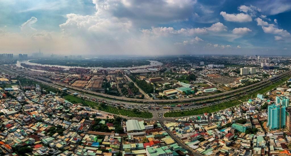 Vị trí dự án River City nhìn từ Quận 9 hướng về bán đảo Thanh Đa