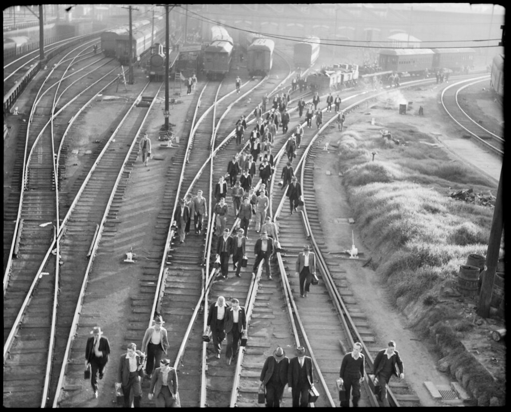 Railway employees leaving Eveleigh Workshops at 5pm, Eveleigh NSW