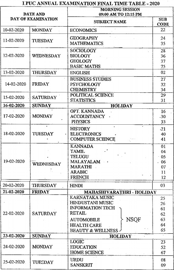 Karnataka 1st PUC Time Table 2020