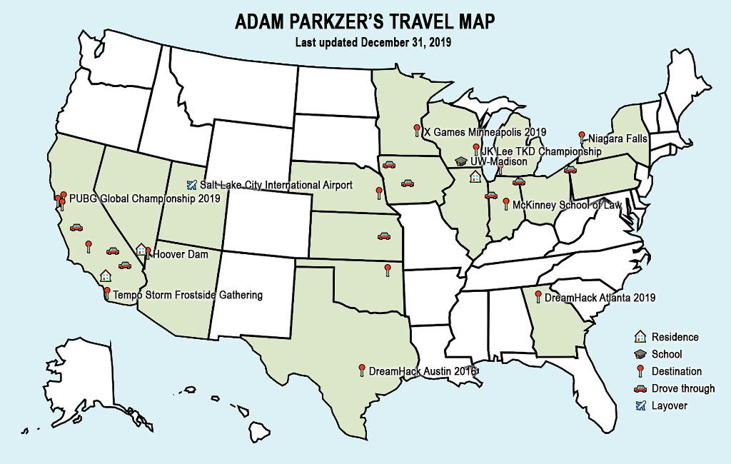 Adam Parkzer's travel map – Last updated December 31, 2019