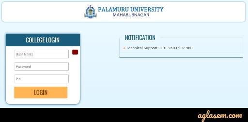 Palamuru University Hall Ticket 2020
