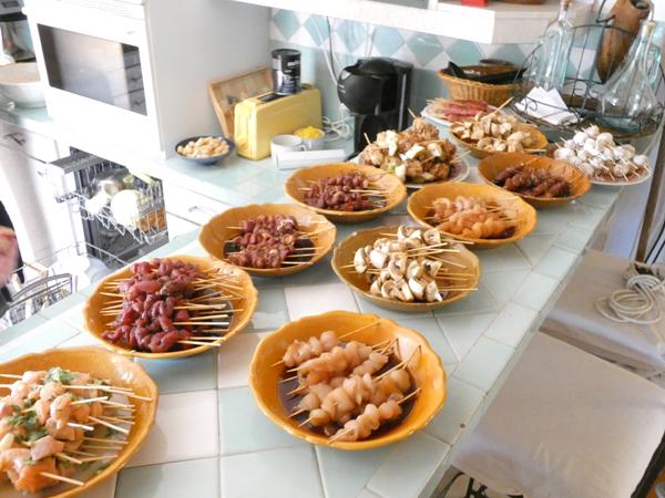 table des yakitoris