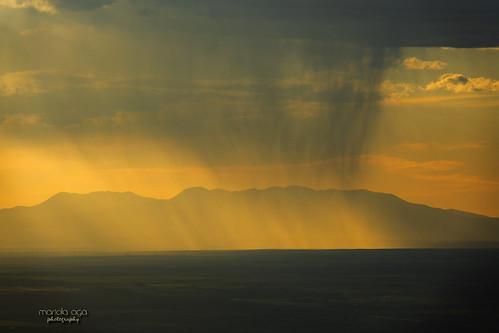 colorado evening sunset mountains clouds light rain landscape nature