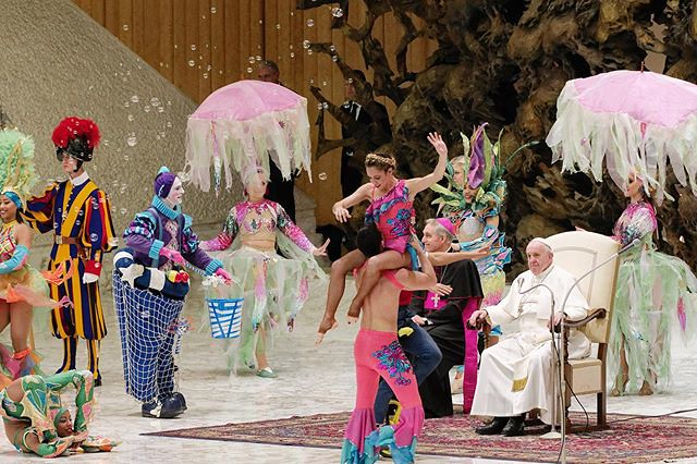 "Pope Francis watches the artists of the ""Aqua"" Cuban circus during his weekly general audience at the Vatican, Wednesday, Jan. 8, 2020. #pope #popefrancis #aquacircus #circus #funny #color #catholic #picsoftheday"