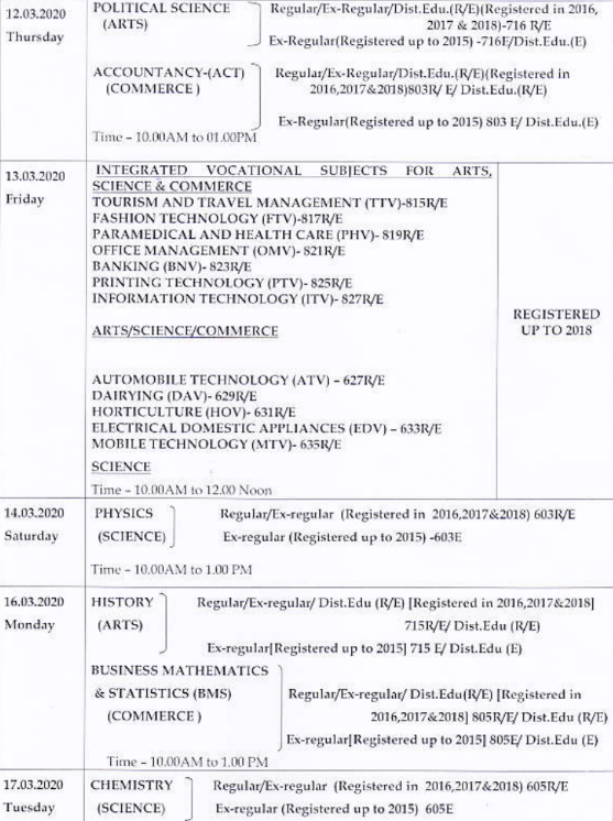CHSE Odisha 12th Time Table 2020