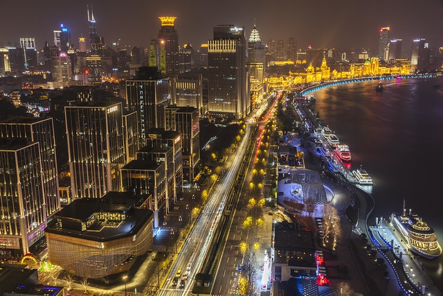Shanghai Bund Night View from Hotel Indigo