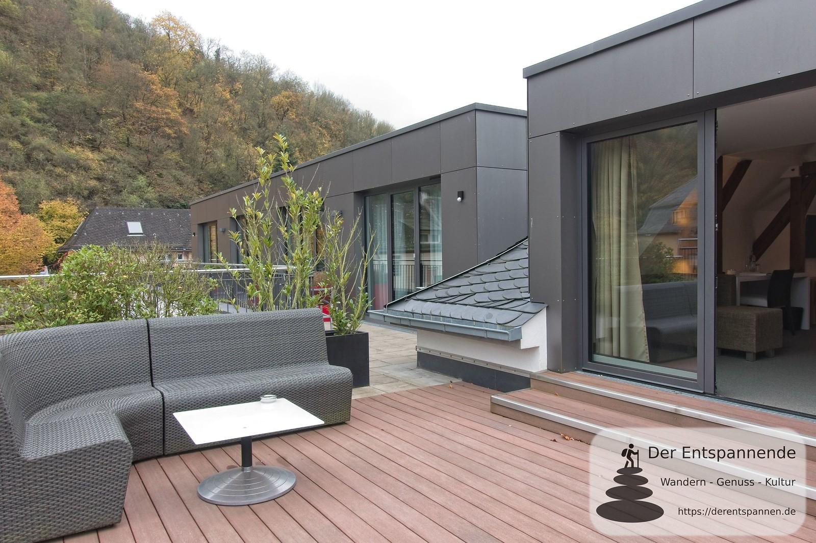 Terrasse der Penthouse-Suite im Hotel im Schulhaus (Lorch)