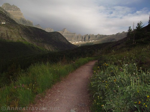 Cloudy trail but the Ice Wall was sunny, Iceberg Lake Trail, Glacier National Park, Montana