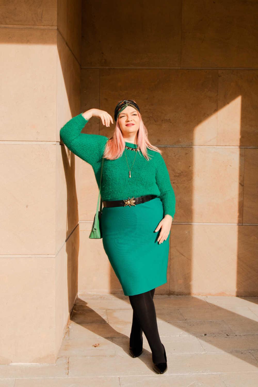 Outfit plus size verde e nero (2)