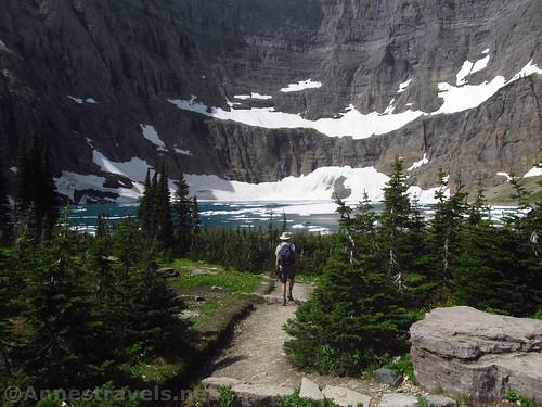 Hiking down to Iceberg Lake, Glacier National Park, Montana