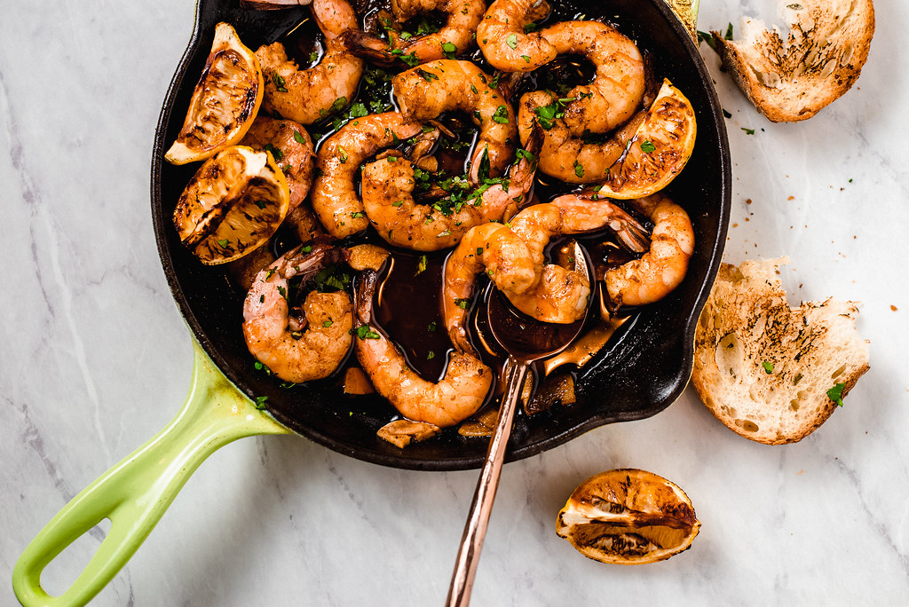 Inspired by the popular tapa, Spanish garlic shrimp, also called Gambas al Ajillo has sweet shrimp sauteed with fruity olive oil, smoky paprika and lots of garlic!