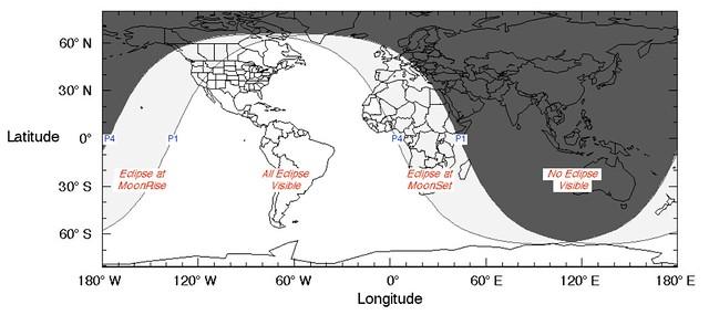 VCSE - A júliusi fogyatkozás láthatósági térképe - magyarázatot lásd a januárinál. - Forrás: wikipedia.org
