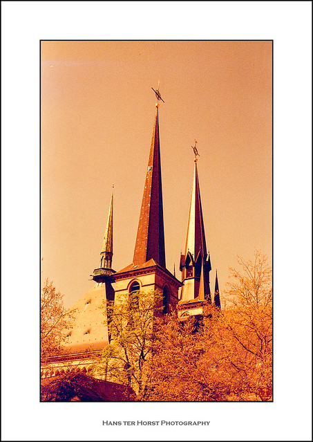 Luxembourg cathedral on redscale film