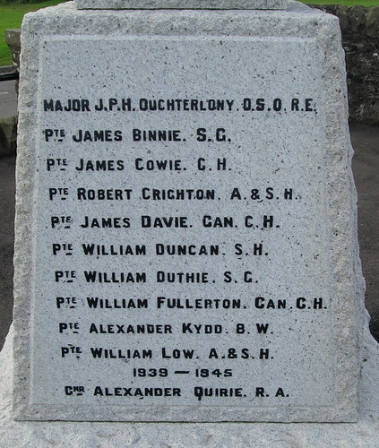 Carmyllie War Memorial Names