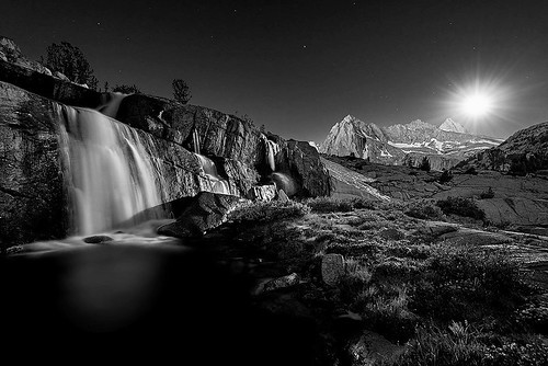light moon mountains waterfall sierra backpacking backcountry peaks sierranevada highsierra highcountry inyo sabrinabasin california nikon fullmoon moonlight blackandwhite monochrome