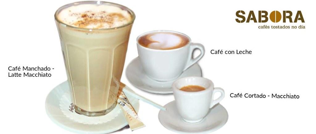 Cafe manchado  café con leche y café  cortado o macchiato