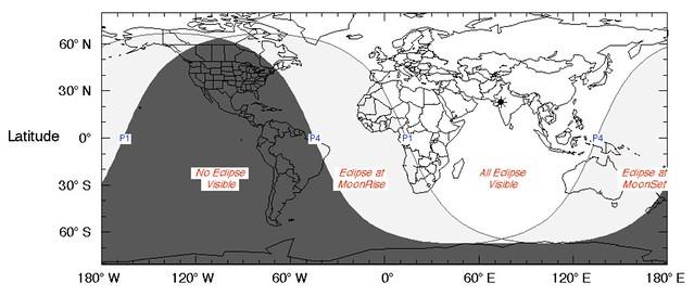 VCSE - A 2020. január 10-i fogyatkozás láthatósági térképe. Világos: a fogyatkozás részben vagy egészben látható, sötét: nem látható. A csillag a legjobb láthatóság helyét jelzi. No Eclipse Visible: a fogyatkozás nem látható. Eclipse at MoonRise: a fogyatkozés egy része egybeesik a holdkeltével, Eclipse at Moonset: a fogyatkozás egy része egybeesik a holdnyugtával, All eclipse visible: a teljes fogyatkozás az elejétől a végéig látható.- Forrás: wikipedia.rog