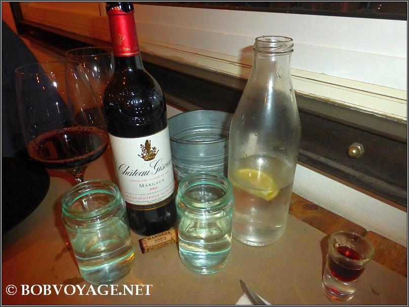 שוט יגרמיסטר, המים והיין שהבאנו איתנו Chateau Giscours Margaux 2003