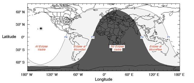 VCSE - A novemberi jelenség láthatósági térképe - magyarázatot lásd a januárinál. Forrás: wikipedia.org