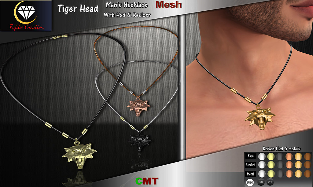 Tiger Head – Men's Necklace with Hud