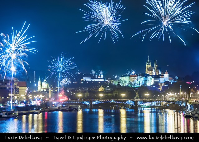 Czech Republic - Prague - New Years Fireworks over Prague Castle & Saint Vitus's Cathedral and Vltava River