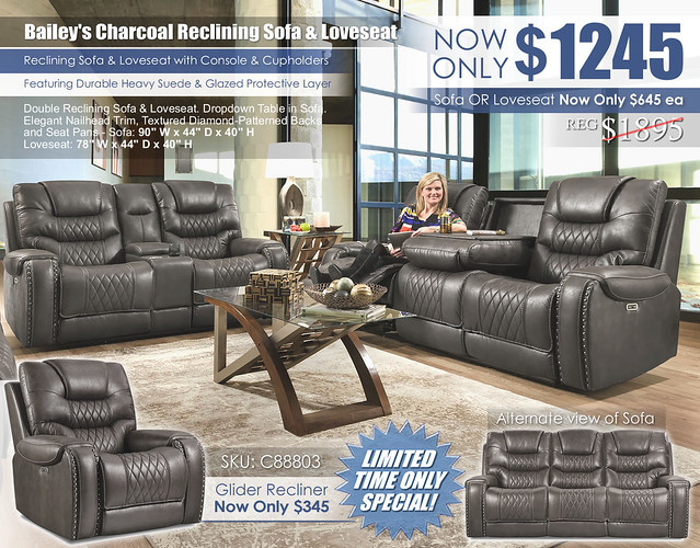 Baileys Charcoal Reclining Sofa & Loveseat Set_88803_Reg