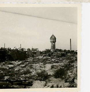 Water tower and rail yard damage