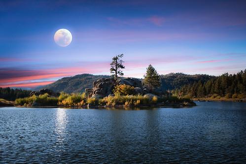 bigbear california lake moon moonlight naturalbeauty sunset trees