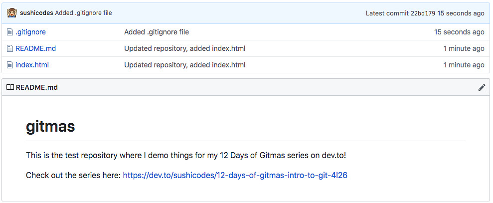 screenshot of github after checking in the .gitignore file