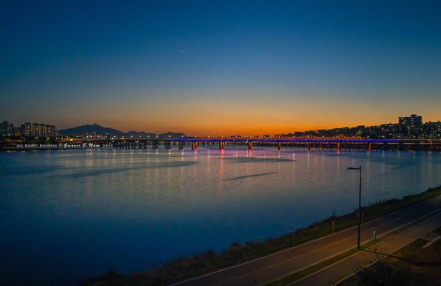 sunset time around river