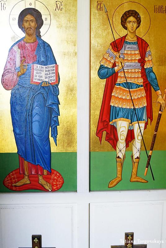 Иконы Иисуса и Св. Георгия с иконостаса