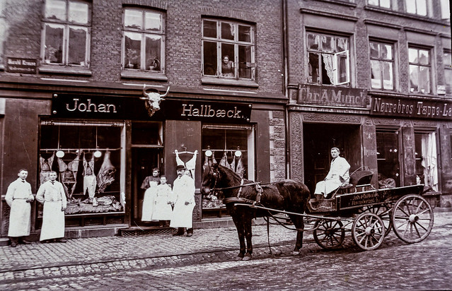 My great grandfather's Butcher shop in Copenhagen (Denmark).  I have no idea when the photo was originally taken - 6M7A8639