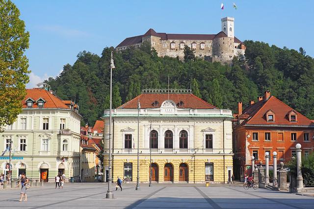 Ljubljana - Kongresni Trg and castle, Slovenia