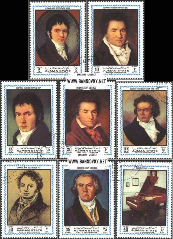Známky Ajman 1972 L. van Beethoven razítkovaná séria