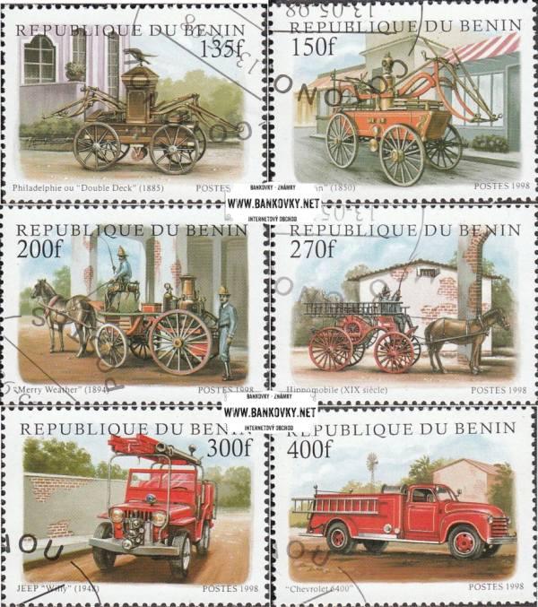 Známky Benin 1998 Staré hasičské vozidlá razítkovaná séria