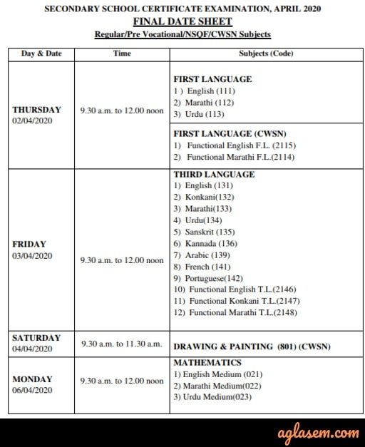 Goa Board SSC Time Table 2020