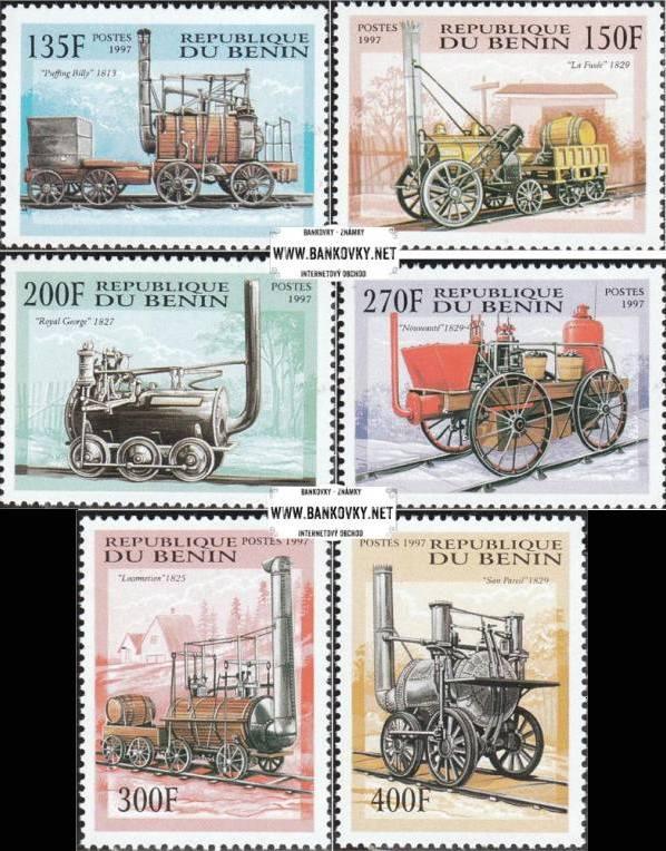 Známky Benin 1997 Parné lokomotívy 19. storočia razítkovaná séria
