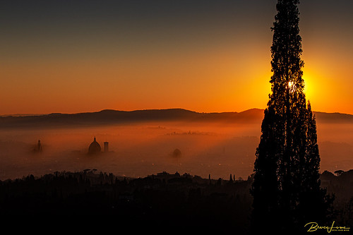 Foggy sunset on Florence