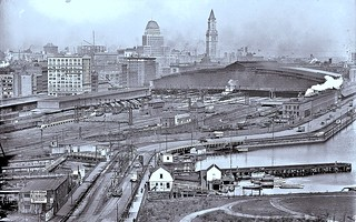 Jones, Leslie. Bird's eye view of South Station from over the Dorchester Ave. bridge. 1928 | by over 22 MILLION views Thanks