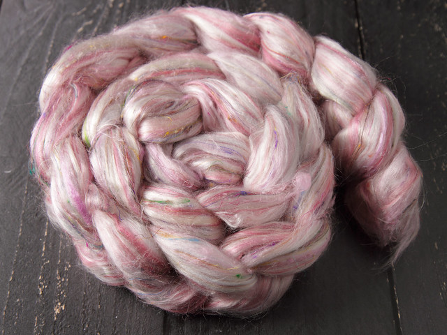 Karma Blend Bamboo, Recycled Sari Silk and Mint eco friendly combed top/roving spinning fibre 100g – 'Bittersweet'