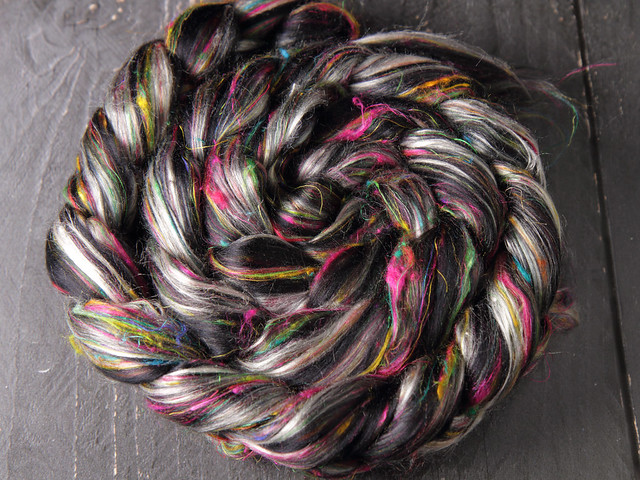 110g Karma Blend Bamboo, Recycled Sari Silk and Mint eco friendly combed top/roving spinning fibre – 'Hidden Gems'