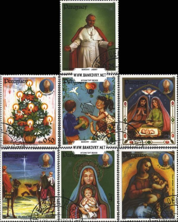 Známky Paraguaj 1984 Vianoce Ján Pavol II., razítkovaná séria