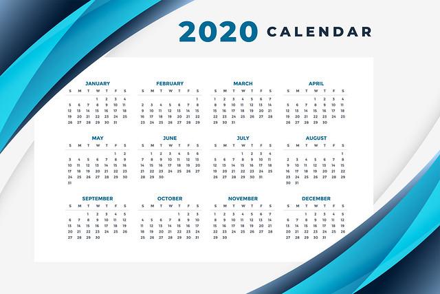 stylish blue 2020 calendar layout design template