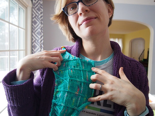 Showing off my Gridlines sweater-in-progress