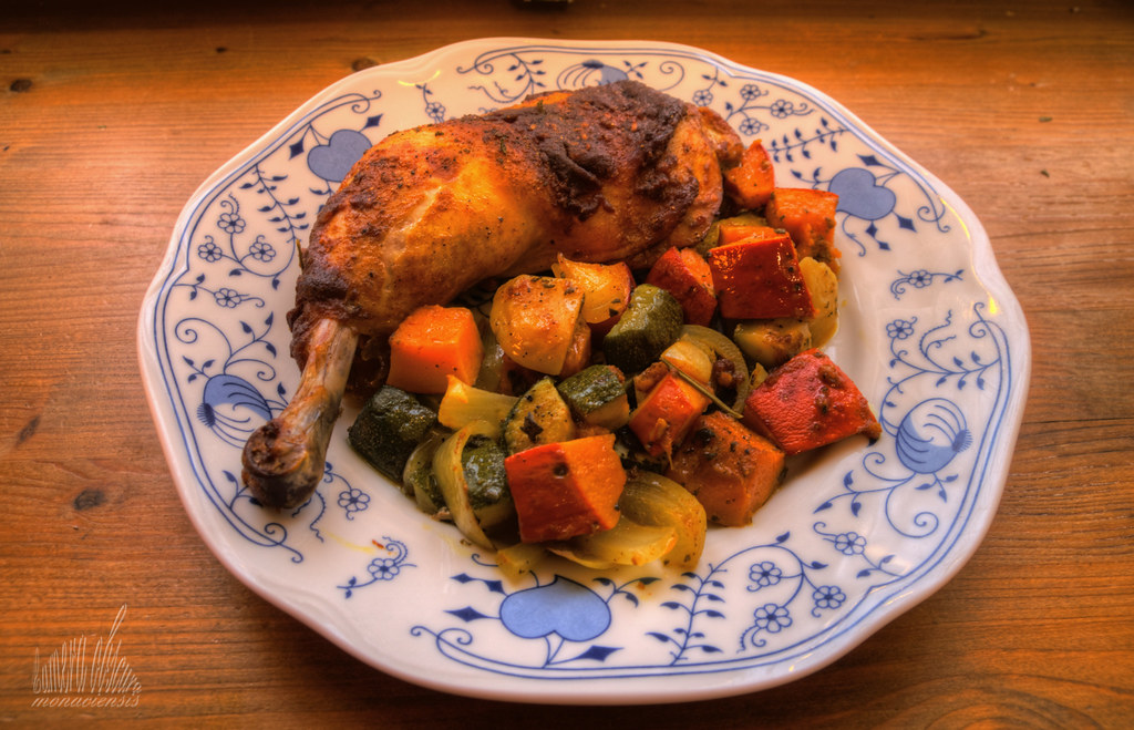 Chicken and oven baked vegetables