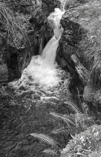 Waterfall, Gynack Burn above Kingussie, Cairngorms National Park, Highland, Scotland, UK