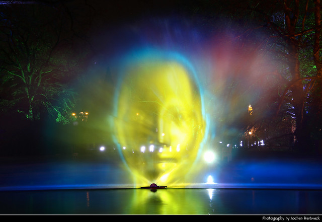 Glowing Head, Winterlichter, Palmengarten, Frankfurt, Germany