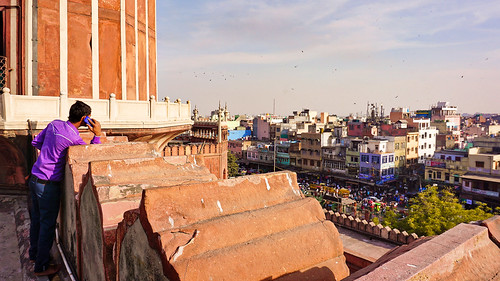 India, Delhi - Phone call from Jama Masjid with great view over Old Delhi - February 2018