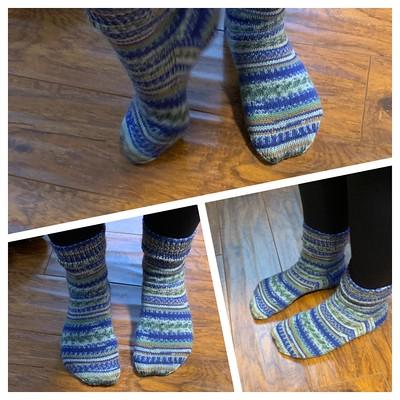 Karen sporting the socks that she knit in Jen's Magic Loop Sock Class!